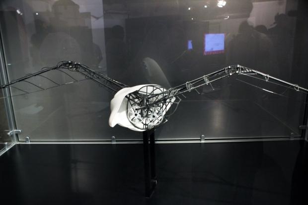 Uma ave robô. Leonardo a desenhou baseado em observação e dissecação. Vídeos na exposição podem mostrar o funcionamento de muitas das obras de Da Vinci.