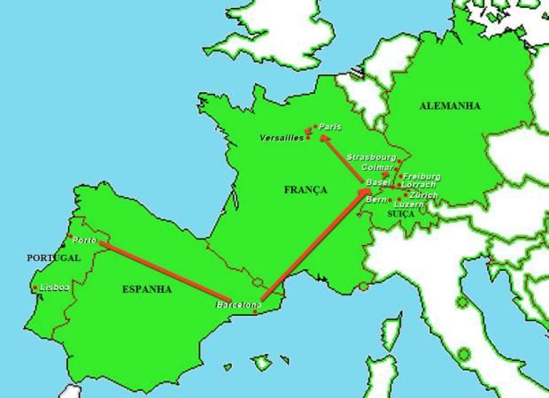 Mapa até Versailles