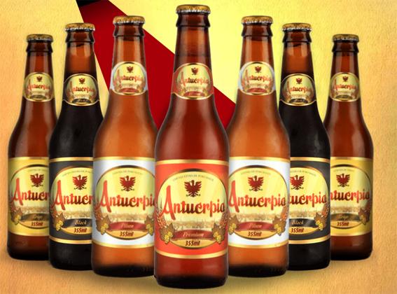 Tem cerveja e tem chopp. Vários sabores.  Fonte: Site da Cervejaria Antuérpia.