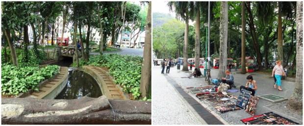 Tem feira de artesanato, tem pipoqueiro, tem riozinho, tem gente jogando, tem até manifestação em frente à prefeitura.