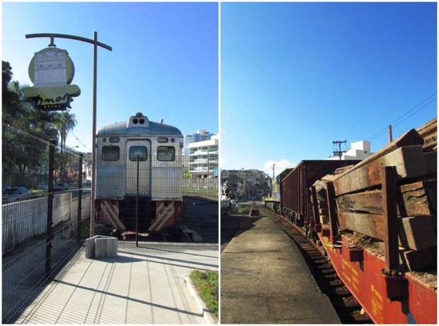 Um trem parado e outro passando.