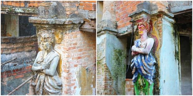 estatuas com e sem cor