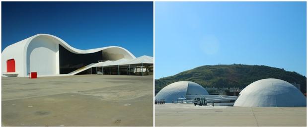O Teatro popular à esquerda e à direita, a Fundação Niemeyer e Memorial Roberto Silveira.