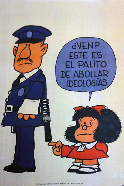 A crítica atenta de Quino - A borracha de apagar ideologias.