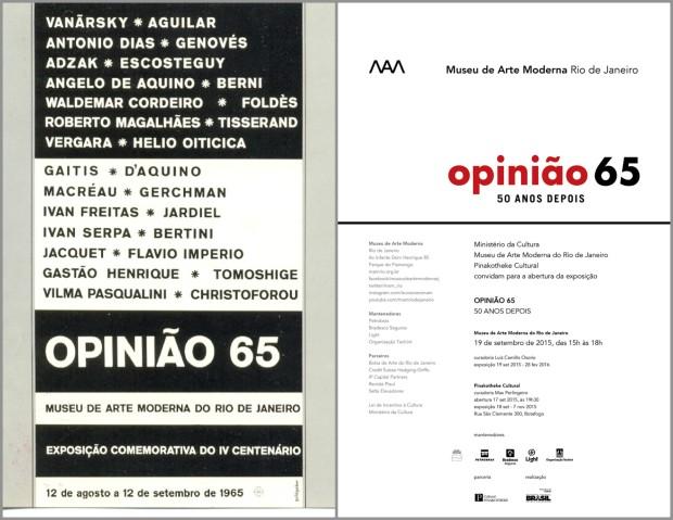 Na esquerda o cartaz da Exposição Original. Na direita a divulgação da Exposição 50 anos depois.