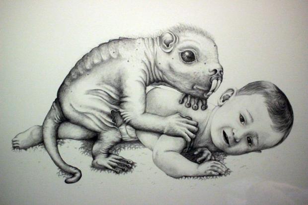 comciencia-patricia-piccinini-bebe-monstro-desenho