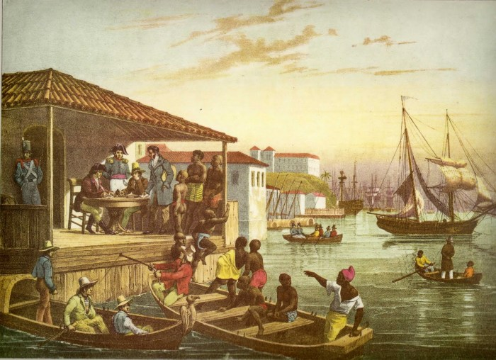 """Pintura """"Desembarque"""" de Rugendas, que retrata a chegada dos escravos no Cais do Valongo."""