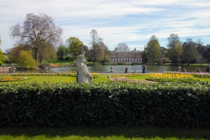 Leões e unicórnios decorando o Kew Gardens.