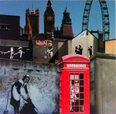 Quadros com montagens das fotos de Banksy nas ruas de Londres.
