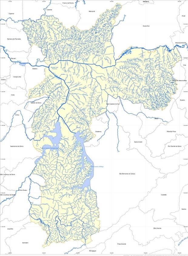 Mapa hidrográfico de São Paulo – Fundação Centro Tecnológico de Hidráulica (FCTH). REPRODUÇÃO