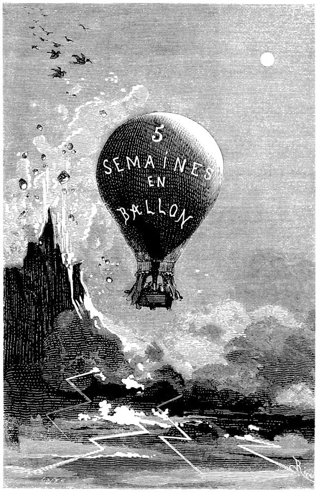 Capa da 1ª edição da obra de Jules VerneCinq Semaines en ballon, J. Hetzel et Compagnie, 1863. Ilustraçõesde Edouard Riou (1833-1900)