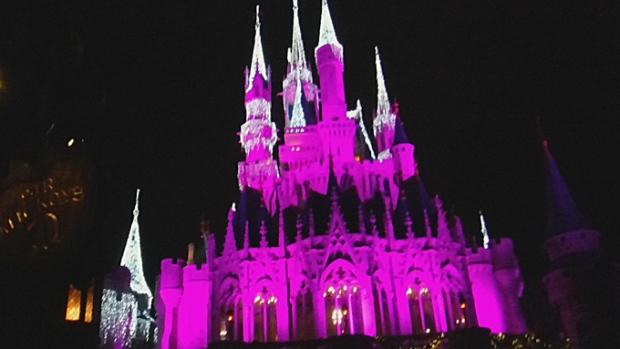O Castelo de a Bela e a Fera, iluminado para a festa da noite.