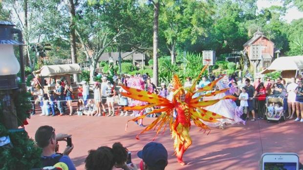 Muitas fantasias coloridas para enriquecer o desfile.
