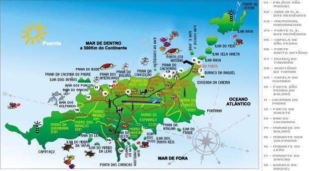 Mapa de Fernando de Noronha feito pelo governo de Pernambuco.