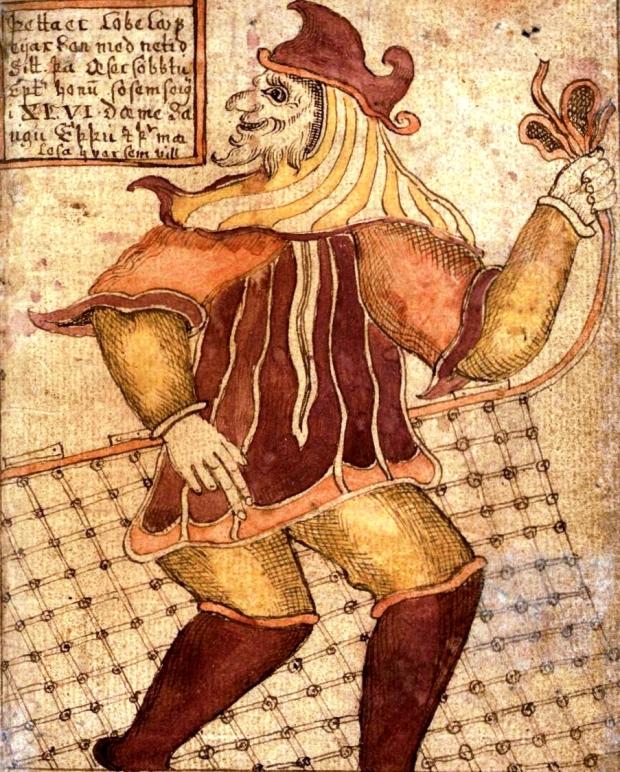 Uma representação antiga do deus Loki. Um velho feiticeiro com a cabeça virada para trás.