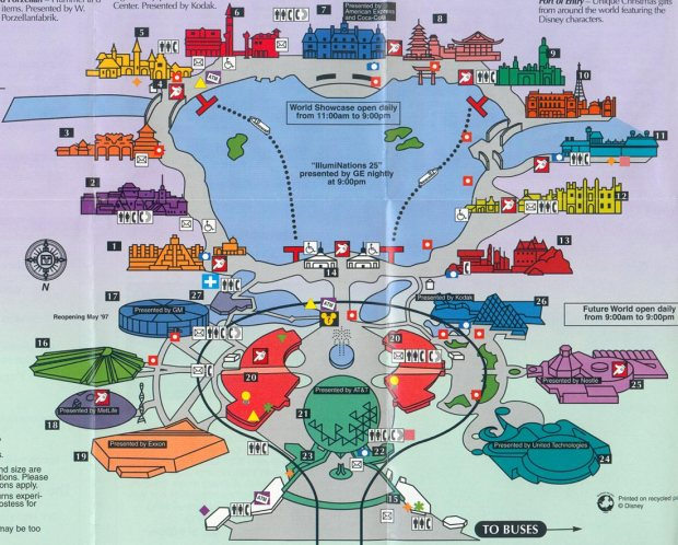 Mapa do Epcot Center. Cada casa ao redor do lago é um país.