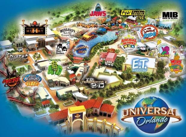 Mapa do Universal Studios.