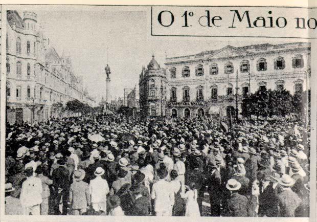 Foto histórica de 1º de maio no Centro de São Paulo.