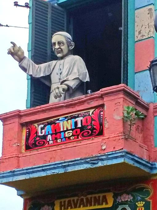 Homenagem ao Papa em El Caminito.