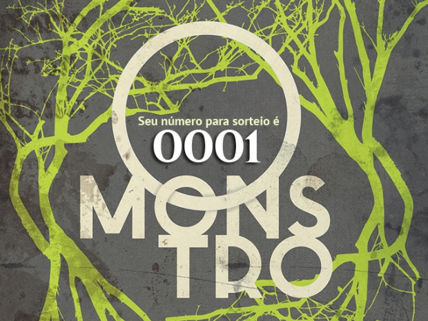 """Bilhete com número para sorteio do livro """"O Monstro""""."""