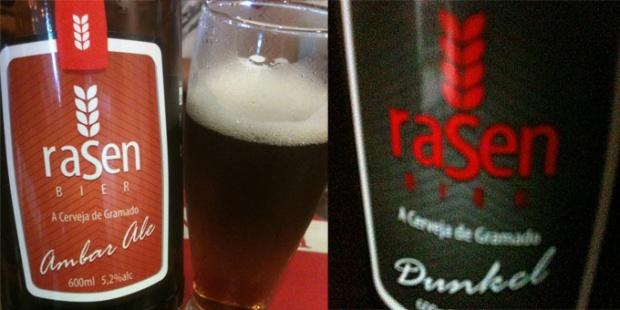 Uma Ambar Ale e uma Dunkel black.