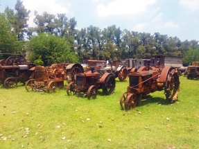 Tratores e máquinas são uma das curiosidades do zoológico de Luján.
