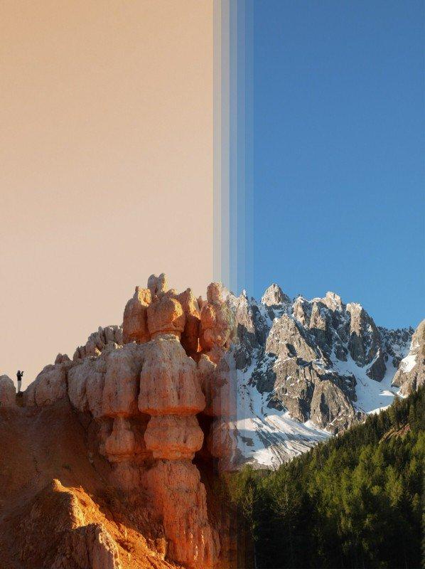 Cânion Bryce, Estados Unidos e montanhas Dolomitas, Itália.
