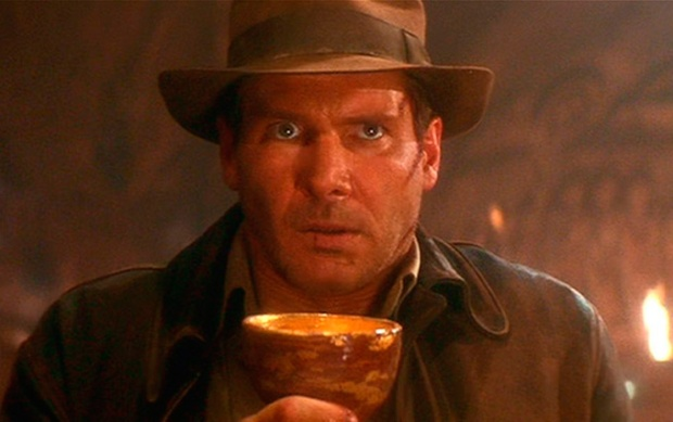 Harrison Ford em Indiana Jones e a Última Cruzada. O mito do Cálice Sagrado.