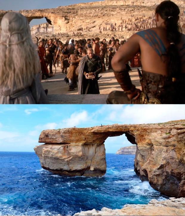 O Casamento de Daenerys E Khal Drogo, em frente à Janela Azul, na Ilha de Gozo, Malta.