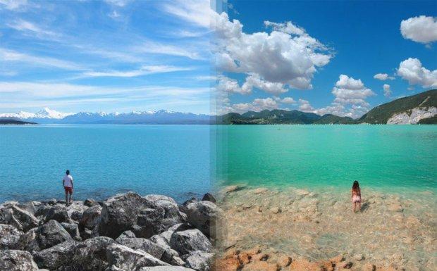 Lago Tekapo, Nova Zelândia e Lago Wolfgang, Áustria.