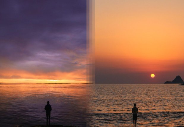 Nascer do sol na Ilha Vancouver, Canada e nascer do sol na Ilha de Poros, Grécia.