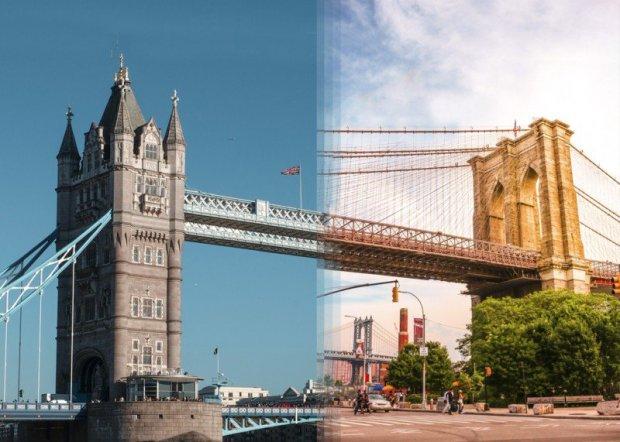 Ponte de Londres e ponte do Brooklyn, nos Estados Unidos.