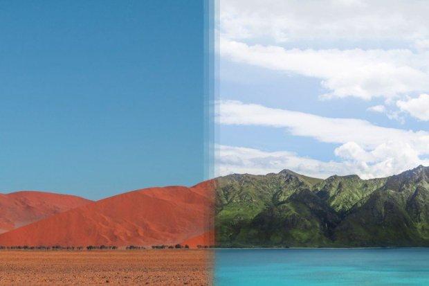 Sossusvlei, na Namíbia e Otago, Nova Zelândia.