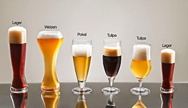 Tipos de copos de cerveja e seus usos.