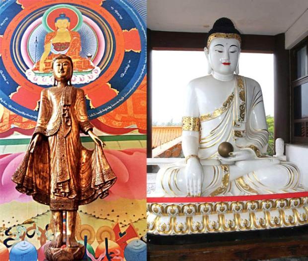 Entenda as diferenças entre o Templo Odsal Ling à esquerda e o Templo Zu Lai, à direita.