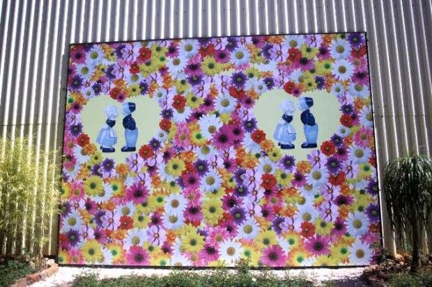 Quadros, arranjos, todo tipo arte feito com flores na Expoflora.