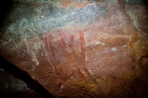 Pintura feita por habitantes pré-históricos de Analândia.
