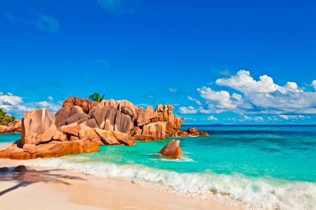 Praia de Anse Lazio, na ilha de Praslin.