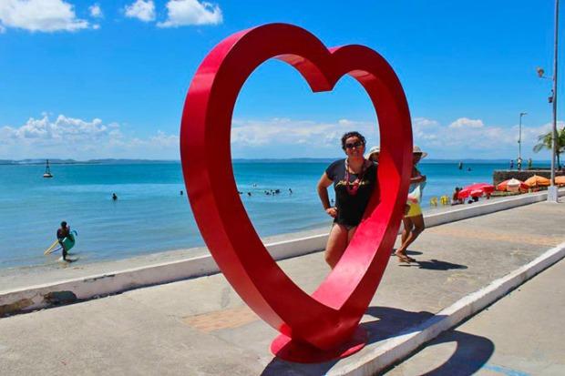 A Hirlei gostou muito de visitar a Ilha de Itaparica.