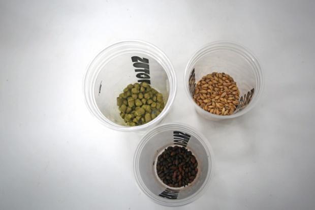 Lúpulo, grãos de malte e cevada na Cervejaria Votus.