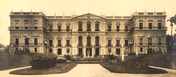 O Museu Nacional, na Quinta da Boa Vista, no Rio de Janeiro. Imagem histórica.