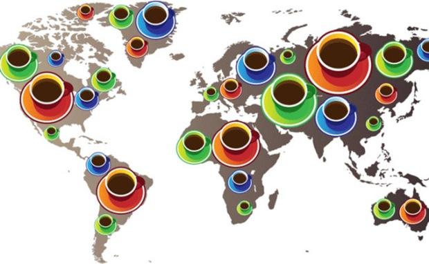 Média de consumo de café nas regiões do mundo.