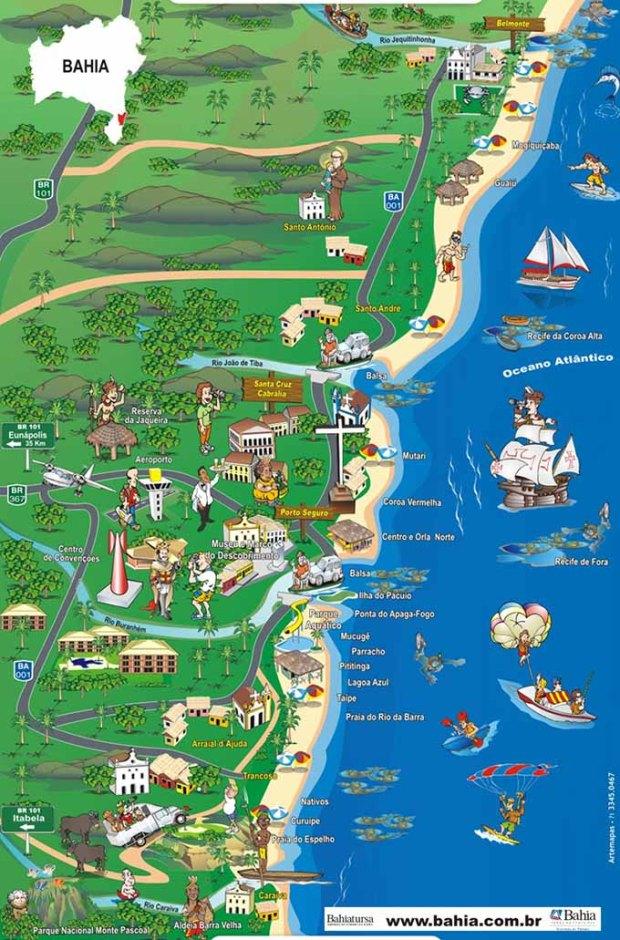 Costa do Descobrimento - Bahia - Mapa