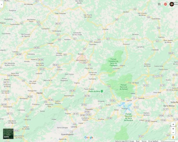 Mapa de estrada com o entorno de São Lourenço.